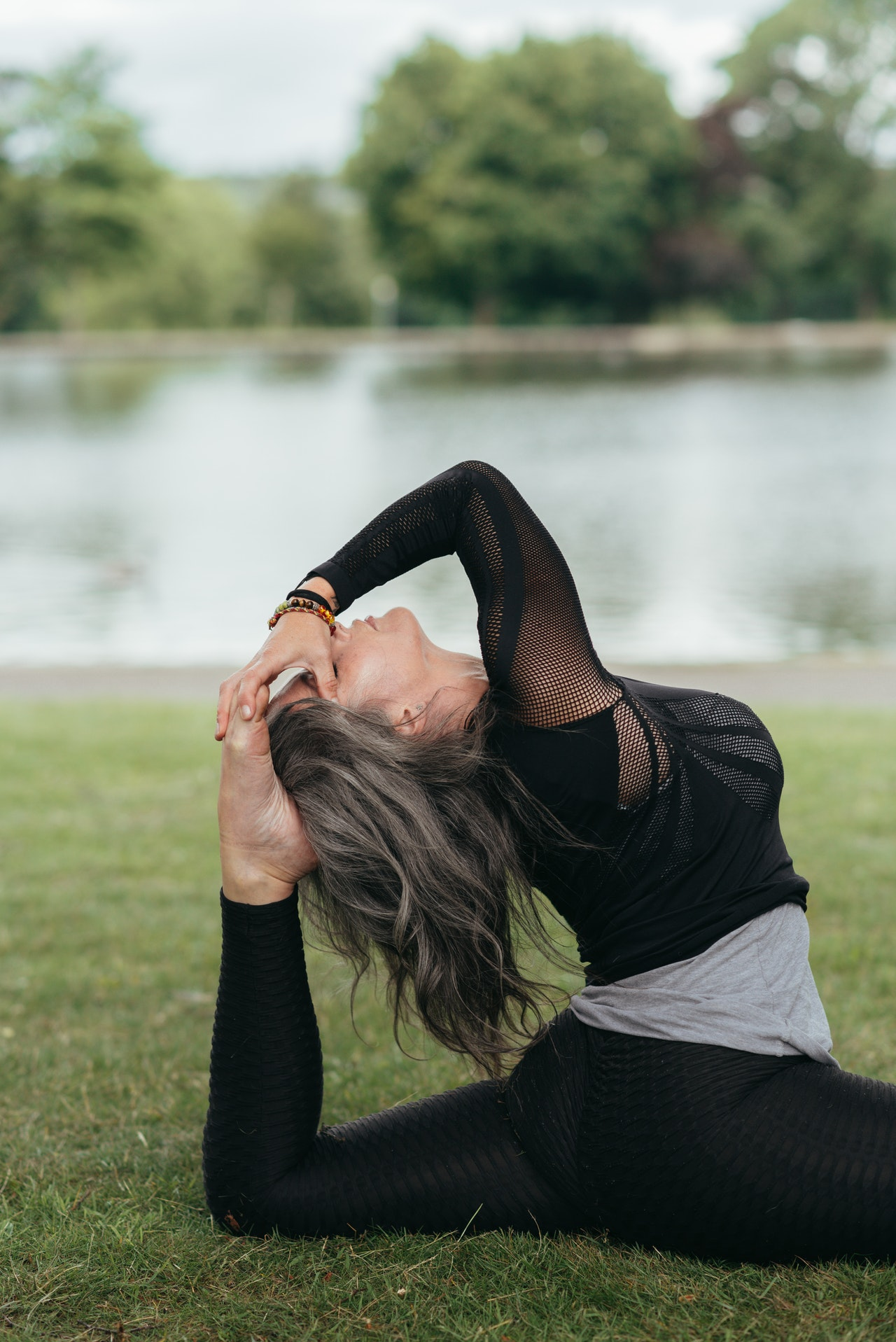woman doing hamstring stretches